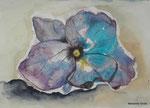 Hortensienblüte, Aquarell und Kugelschreiber, 15 x 21 cm