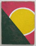 「Egg」  40.9 × 31.8 cm      合成樹脂塗料・ジュート麻・木製パネル:synthetic resin coating, jute hemp, wood panel
