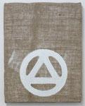 「Mask」  40.9 × 31.8 cm      合成樹脂塗料・ジュート麻・木製パネル:synthetic resin coating, jute hemp, wood panel