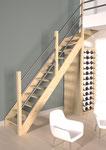Jura escalier 1/4 tournant haut en sapin