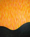 黒と癒しのオレンジ アクリル、キャンバス 100×80.3cm