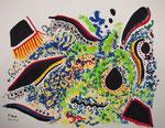意識のゆらぎ アクリル、水彩紙 29.8×38cm