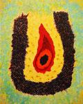 炎の雫、アクリル絵の具、モデリングペースト、オイルパステル、キャンバス 91×72.7cm