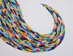 色彩の波 #4 アクリル、ジェッソ、キャンバス 31.8×41cm