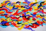 川、アクリル絵具、アブソルバン、キャンバス 15.8×22.7cm