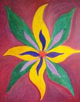 黄色い花 アクリルガッシュ、キャンバス 91×72.7cm