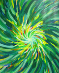 四色の放射<緑> アクリルガッシュ、キャンバス 91×72.7cm