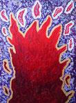 赤い炎 #3 アクリル、モデリングペースト、キャンバス 72.7×53cm