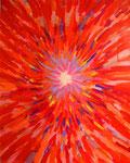 四色の放射<赤> アクリルガッシュ、キャンバス 91×72.7cm