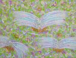 Three angels アクリル、ジェルメディウム、キャンバス 14×18cm アンジュ・デンタルクリニック蔵