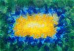 波動 #19、アクリル絵の具、アブソルバン、キャンバス 15.8×22.7cm
