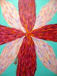 赤い花 アクリルガッシュ、キャンバス 91×72.7cm