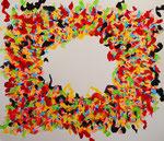 flower #13、アクリル、紙 45.5×53cm
