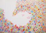 色彩の波 #5、アクリル、胡粉ジェッソ、キャンバス 24.2×33.3cm