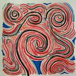 地球の赤い水 アクリル、水彩紙 24×24cm