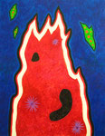 Red flame acrylic, sandy and white opaque flakes on canvas, 145.5×112.2cm