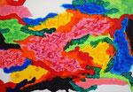 雲、アクリル絵の具、アブソルバン、オイルパステル、キャンバス 15.8×22.7cm