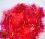 散りばめた愛 アクリル、オイルパステル、キャンバス 45.5×53cm