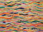 色彩の波 #2 アクリル、色鉛筆、水彩紙 14×18cm 個人蔵