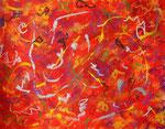 波動 #20、アクリル絵の具、オイルパステル、水彩紙 31.8×41cm