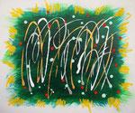 無題141002 アクリル、アクリルガッシュ、オイルパステル、キャンバス 38×45.5cm