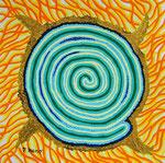 緑の太陽 アクリル、水彩紙 23×23cm
