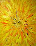 四色の放射<黄> アクリルガッシュ、キャンバス 91×72.7cm