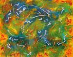 波動 #21、アクリル絵の具、オイルパステル、水彩紙 31.8×41cm