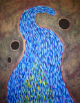 青い炎 アクリル、サンディ、キャンバス 145.5×112.2cm