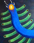 宇宙幼虫 #2 アクリル、ジェルメディウム、ブレンデッドファイバー、キャンバス 91×72.7cm
