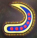 古代の種 アクリル、サンディ、キャンバス 91×91cm