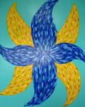青い花 アクリルガッシュ、キャンバス 91×72.7cm
