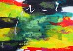 無題140912、アクリル絵の具、アブソルバン、オイルパステル、キャンバス 15.8×22.7cm 個人蔵