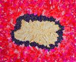flower #20、アクリル絵の具、アブソルバン、モデリングペースト、キャンバス 22×27.3cm