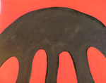 赤と黒2 アクリルガッシュ、キャンバス 116.6×91cm
