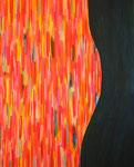 黒と生命力の赤 アクリル、キャンバス 100×80.3cm