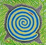 青い太陽 アクリル、水彩紙 23×23cm