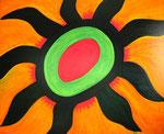太陽 アクリルガッシュ、キャンバス 100×80.3cm