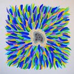 flower #34 アクリル、モデリングペースト、キャンバス 45.5×45.5cm