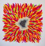 flower #33 アクリル、モデリングペースト、キャンバス 45.5×45.5cm