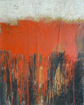 Kraftfeld I, Collage, Sande, Acrylmischtechnik auf LW, 80 x 100 cm