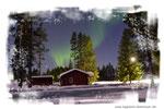 Polarlicht überm Ferienhaus