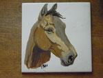 Pferdekopf, Emaillack auf Keramikfliese, 15x18, 1978