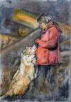 Die Wolfsflüsterin, Pastell/Kohle, 40x30, 2015