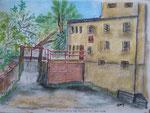 Blick von der Brücke auf das Wehr, Pastell, 30x40, 2013