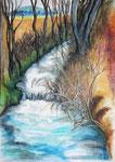 Der Biber-Whirlpool, Aquarellstifte, 40x30, 2017