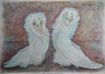 Die Taubenhochzeit, Pastell, 30x40, 2014