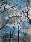 Winterhimmel, Pastell/Kohle, 40x30, 2017