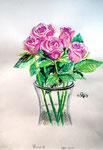 Rosa/e, Aquarellstifte, 30x20, 2014