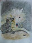 Wolfsmutter, Pastell/Kohle, 40x30, 2013